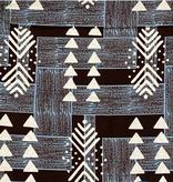 Fabrics USA Inc Ankara Wax Print— Mudcloth inspired wax print in black and cream and blue