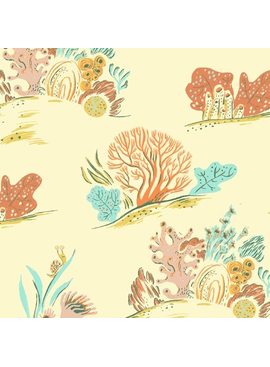 Windham Fabrics Malibu by Heather Ross Coral Blue Linen Cotton