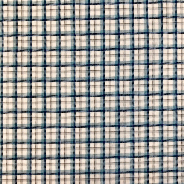 Aqua + Grey Plaid Pima Cotton Shirting