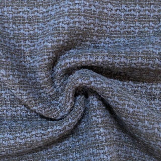 Fabric Mart Italian Black / Blue Wool Blend Dobby Weave