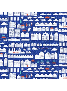 FIGO Wintertide by the Printed Peanut Home Town Blue