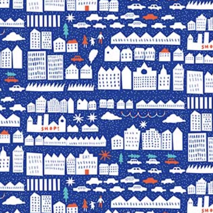 FIGO Wintertide by the Printed Peanut Home Town Blue