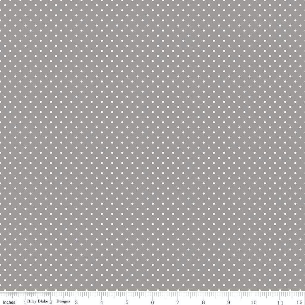 Riley Blake Swiss Dot White on Grey by Riley Blake