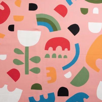 Nerida Hansen Shapes by Lisa Congdon Cotton Sateen Pink