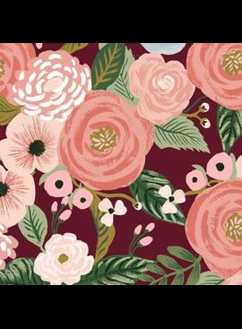 Cotton + Steel Garden Party by Rifle Paper Co. Juliet Rose Burgundy Canvas