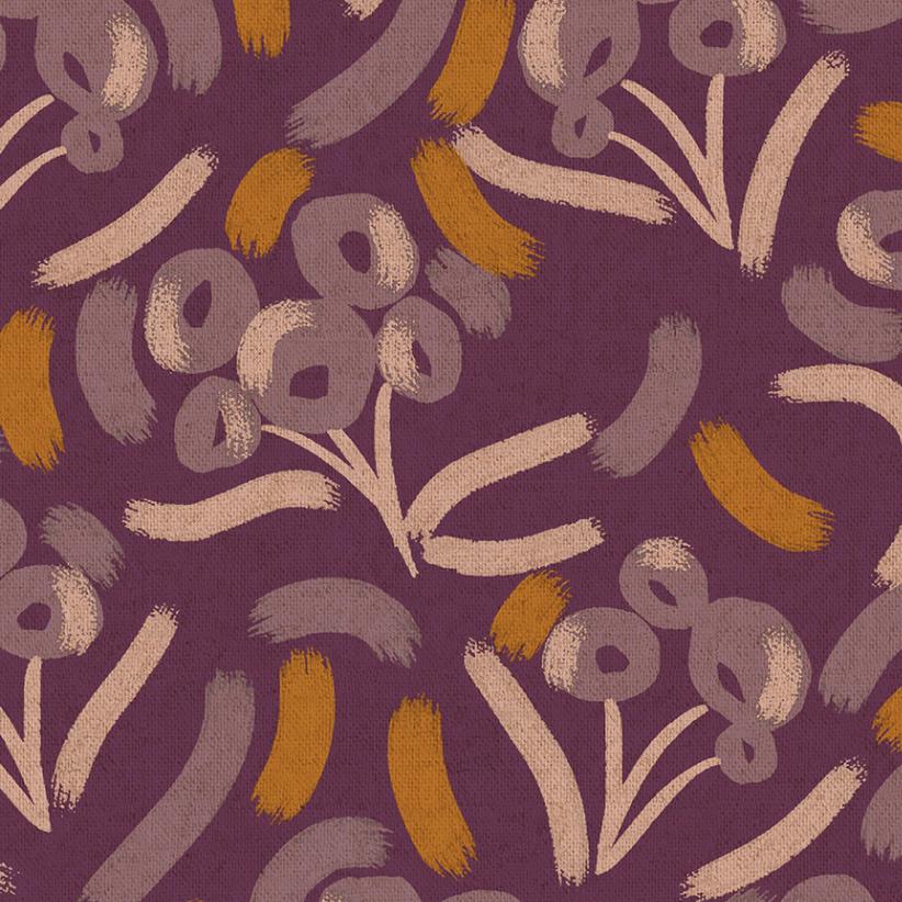 Cotton + Steel Glory Luella Cranberry Unbleached Canvas by Cotton + Steel