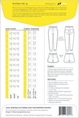 Closet Core Patterns Closet Core Patterns Plateau Joggers