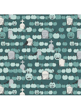 Riley Blake Spooky Hollow Pumpkin Field Teal