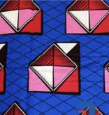 Fabrics USA Inc Ankara Wax Print- Hollandais Block Wax—Blue Red Pink White Envelopes