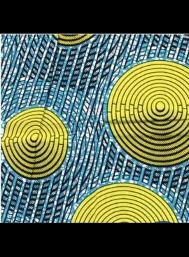 Fabrics USA Inc Ankara Wax Print—Turquoise, Yellow, Rain Drops