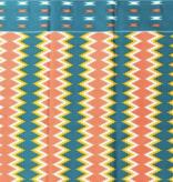 Fabrics USA Inc Ankara Wax Print—Peach green Kente print