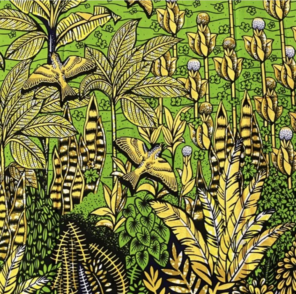 Fabrics USA Inc Ankara Wax Print—Metallic Gold Green Tropical Border Print