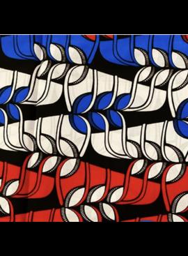 Fabrics USA Inc Ankara Wax Print—Red White and Blue Leaves