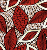 Fabrics USA Inc Ankara Wax Print—Gold Red Beige Leaves