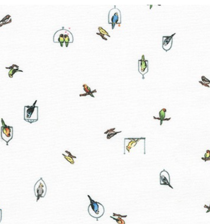 Robert Kaufman Petit Birds White