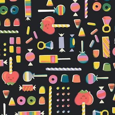 Riley Blake Tiny Treaters Retro Candy Charcoal