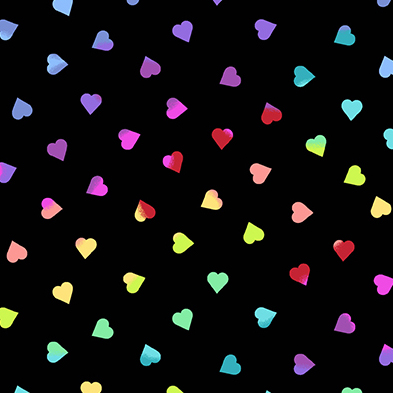 Andover Beguiled Black Rainbow Hearts