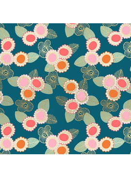 Ruby Star Society Purl by Sarah Watts for Ruby Star Embroidered Floral Teal
