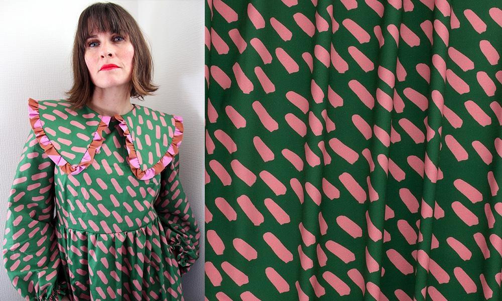 Nerida Hansen Peach & Green Dash Cotton Sateen Green