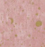 Kokka Simply Gold Moons & Stars Double Gauze Pink