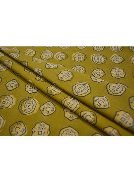 Navyas Fashion Bagru Green Numeric Printed Cotton