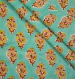 Navyas Fashion Beach Green Floral Hand Block Print