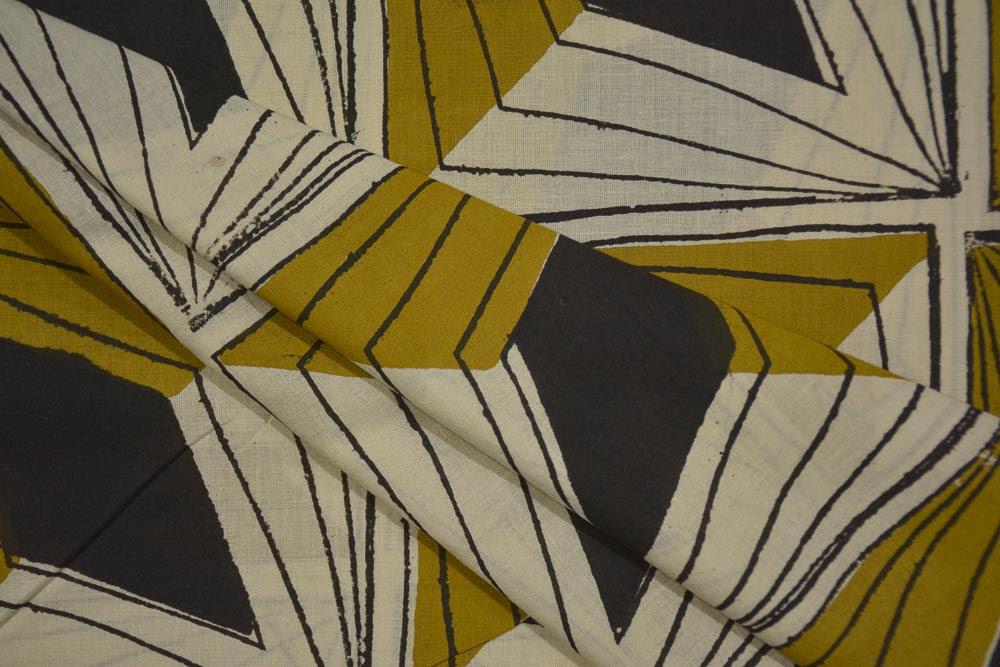 Navyas Fashion Mustard Black Bagru Block Print Cotton Fabric