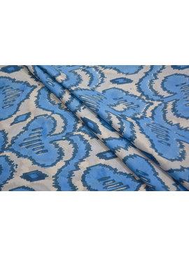 Navyas Fashion White and Blue Block Printed Cotton
