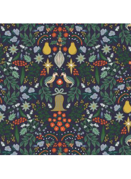 Cotton + Steel Holiday Classics by Rifle Paper Co. Partridge Navy