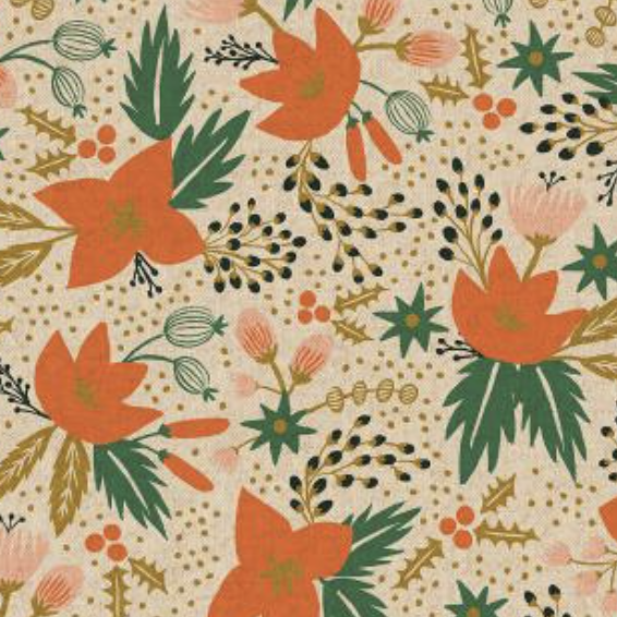 Cotton + Steel Holiday Classics by Rifle Paper Co. Poinsettia Canvas Natural