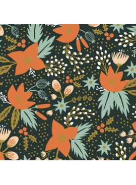 Cotton + Steel Holiday Classics by Rifle Paper Co. Poinsettia Evergreen