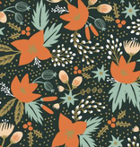 Rifle Paper Co Holiday Classics by Rifle Paper Co. Rayon Poinsettia Evergreen