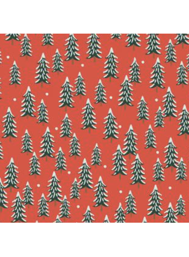 Cotton + Steel Holiday Classics by Rifle Paper Co. Fir Trees Red