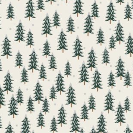 Cotton + Steel Holiday Classics by Rifle Paper Co. Fir Trees Silver