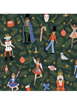Cotton + Steel Holiday Classics by Rifle Paper Co. Nutcracker Canvas Evergreen