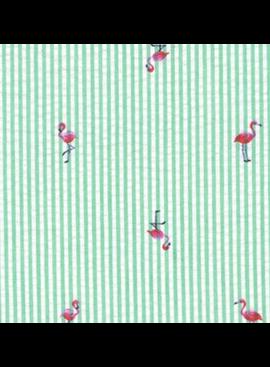 Robert Kaufman Seersucker Coast Prints Palm Flamingo