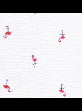 Robert Kaufman Seersucker Coast Prints White Flamingo