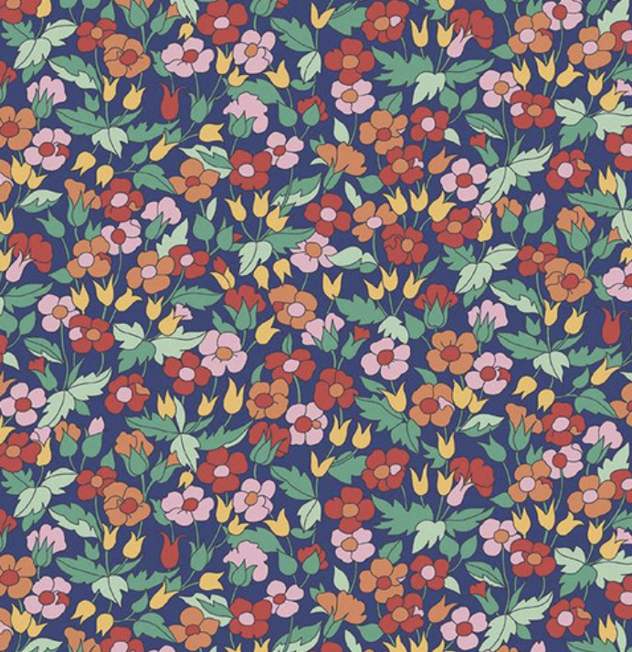 Riley Blake The Carnaby Collection by Liberty Fabrics Bohemian Brights Piccadilly Poppy Navy