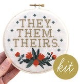 They Them Theirs Cross Stitch Kit By Junebug and Darlin'