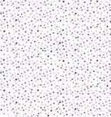 Cotton + Steel Pow Pow! Spellbound Metallic White With Purple Dots