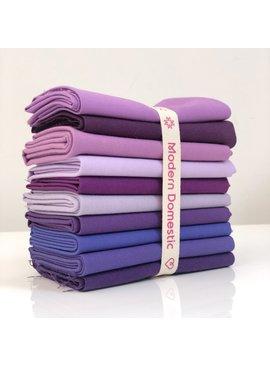 Robert Kaufman Kona Fat Quarter Bundle: Purples 10pc