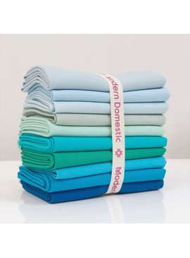 Robert Kaufman Kona Fat Quarter Bundle: Turquoises / Teals 10pc