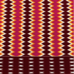 Fabrics USA Inc African Wax Print -  Red, orange and hot pink tribal zig-zag single