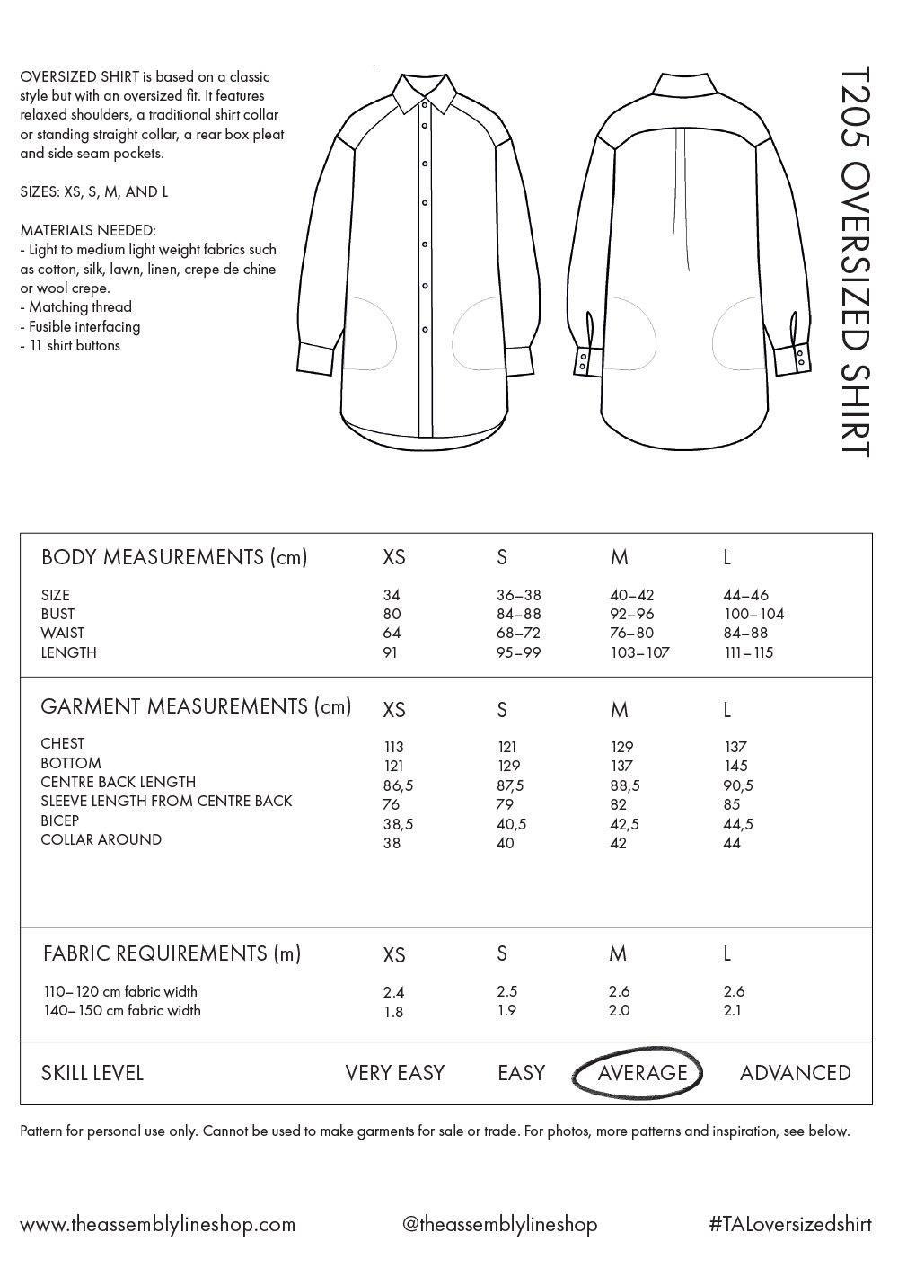 The Assembly Line Patterns Oversized Shirt XL-3XL pattern by The Assembly Line Patterns