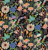 Windham Paradiso Flower Bed Black by Windham Fabrics