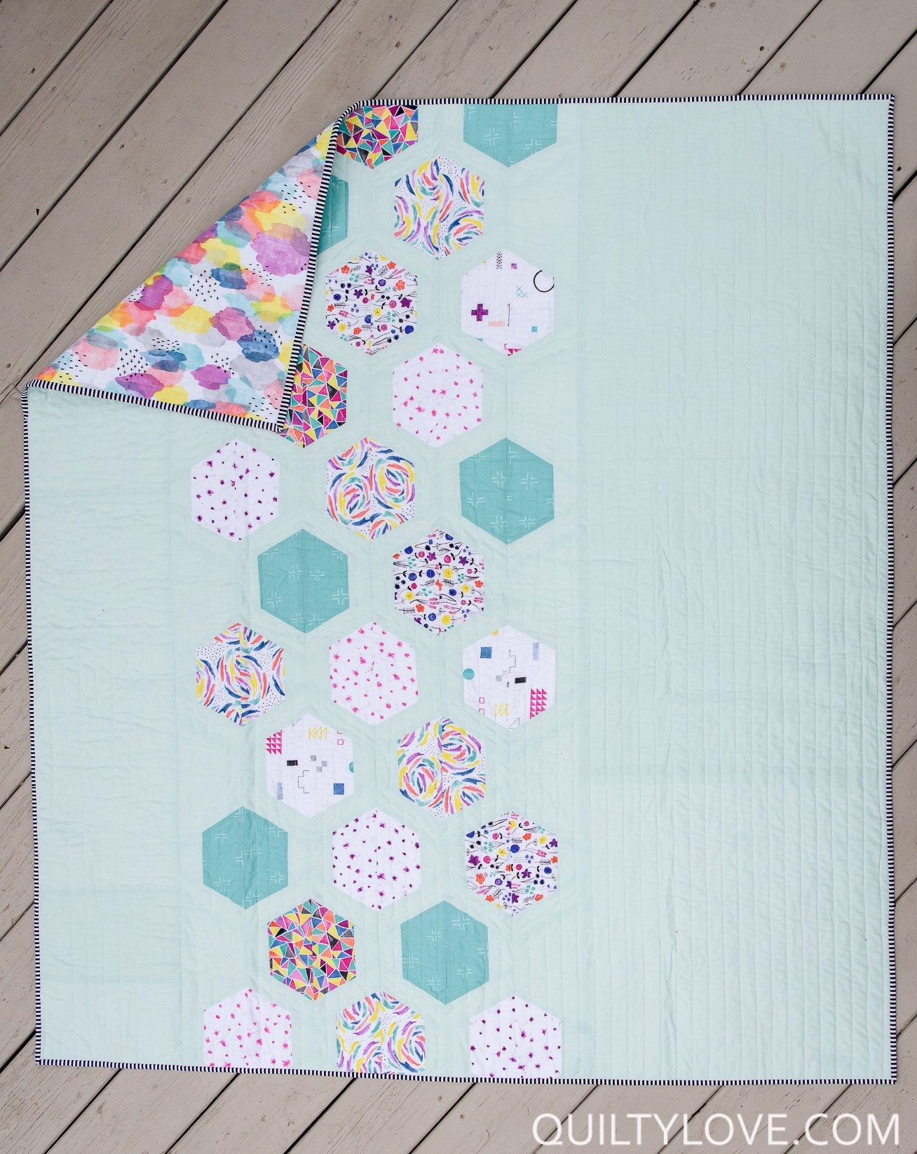 Quilty Love Hexie Framed Quilt Pattern by Quilty Love