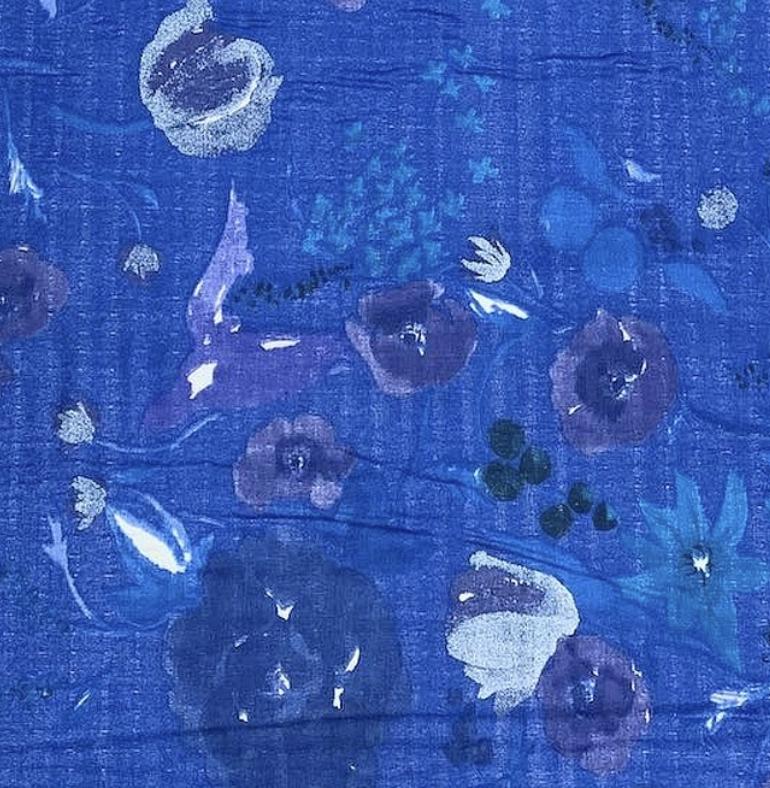 Kokka Nani Iro Double Gauze Blue with Blue and White Floral