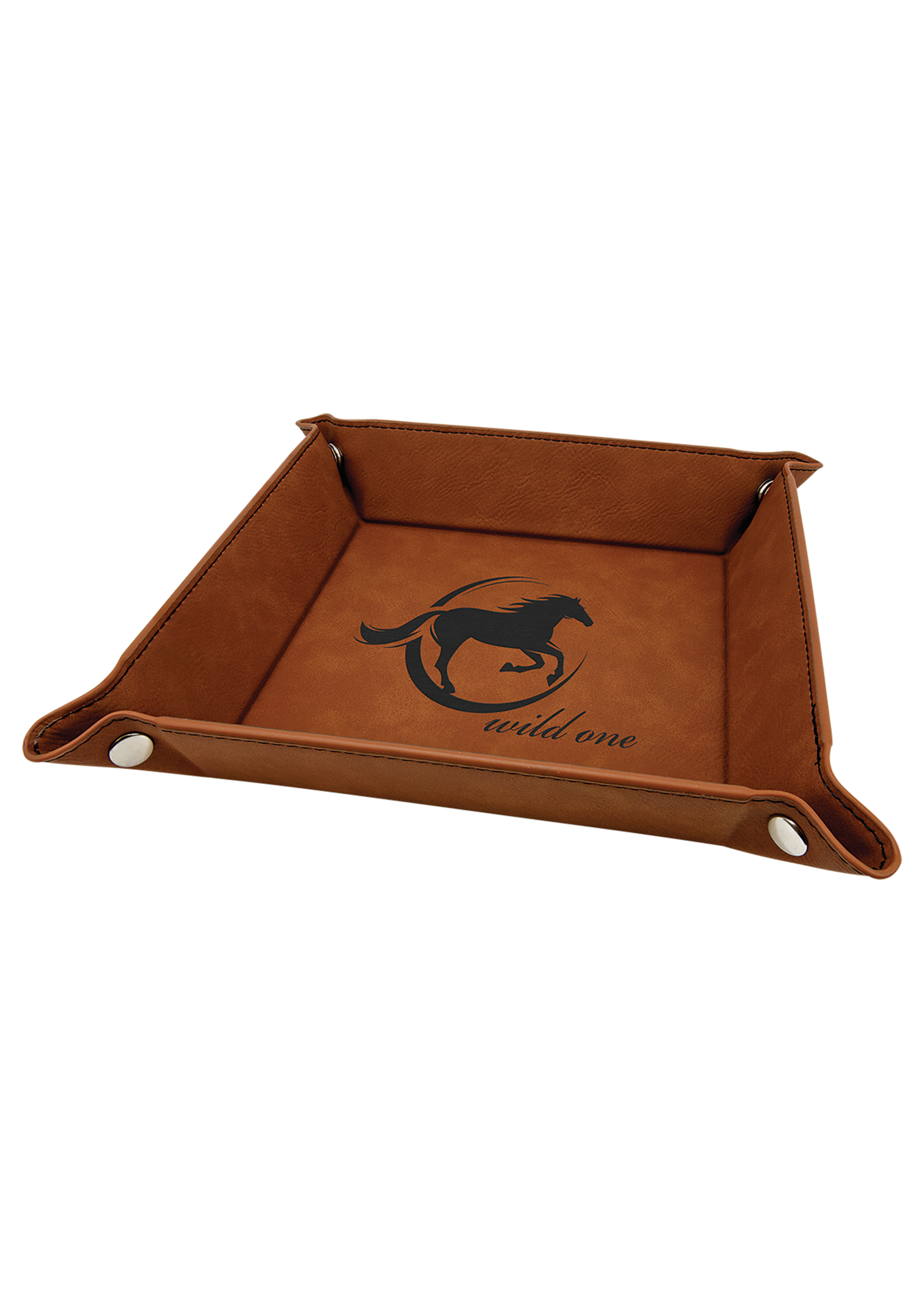 """150mm x 150mm (6""""x6"""")  Laserable Leatherette  Snap up Tray"""