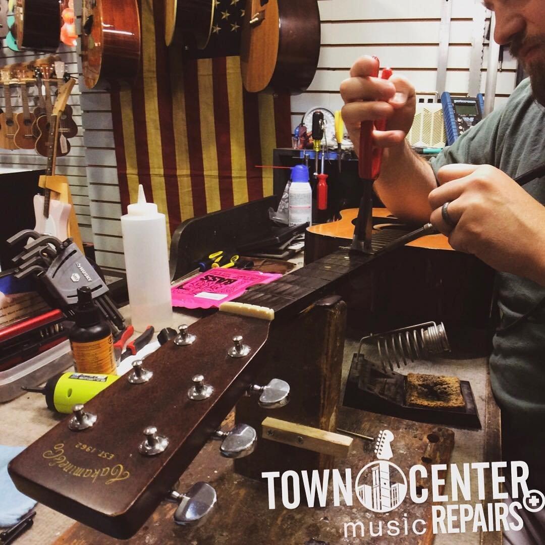 Guitar fret work at Town Center Music Repairs