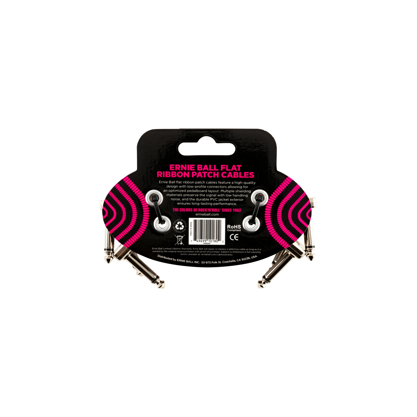 Ernie Ball Ernie Ball 3 inch Flat Ribbon Patch Cable 3-Pack
